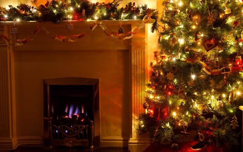 christmas tree, xmas, cozy, decoration, eve, festive, fireplace, holiday, home