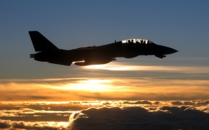 jet, military, silhouette, flying, sunset, fighter, plane, sky, airplane, f-14, tomcat, usa, dusk