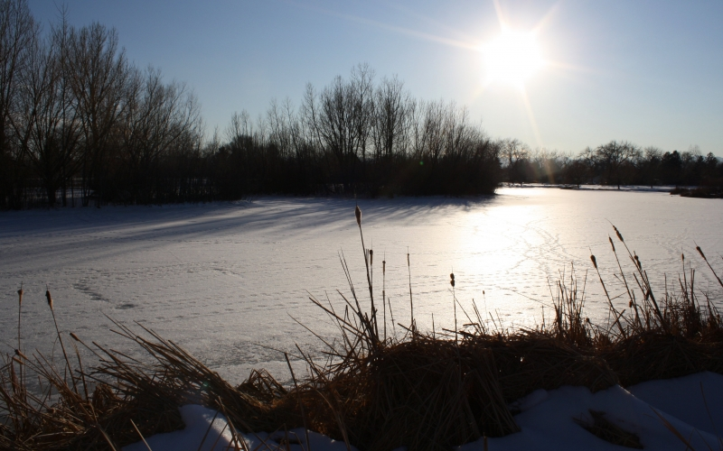 lake, river, snow, pond, frozen