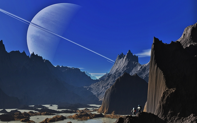saturn, landscape, mountains, mountainous, gorge, brackish water, pools of water, water puddles, water, hagbard, brecca, ring planet, sky, azure, blue, azur, astronaut, astronautics, space travel, science fiction, forward, settlement, pair, two, karg, lon