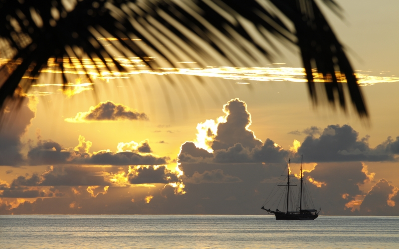 ocean, ship, sailing ship, sunset, water, sky, sun, vacation, beautiful, colorful, seychelles