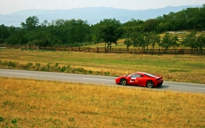 ferrari, race, car, racing, landscape, hill, hill climb, road, countryside