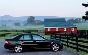 automobile, car, barn, farm, ranch, early morning, mercedes-benz