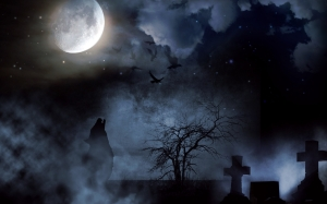cemetery, creepy, moon, wolf, night, cross, clouds, star, atmospheric, mystical, ghostly, spiritual, sky, death, howl, tree, aesthetic, lonely
