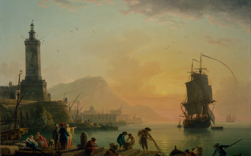 claude vernet, painting, oil on canvas, artistic, nature, outside, sky, clouds, landscape, sea, ocean, water, ships, people, lighthouse, shoreline