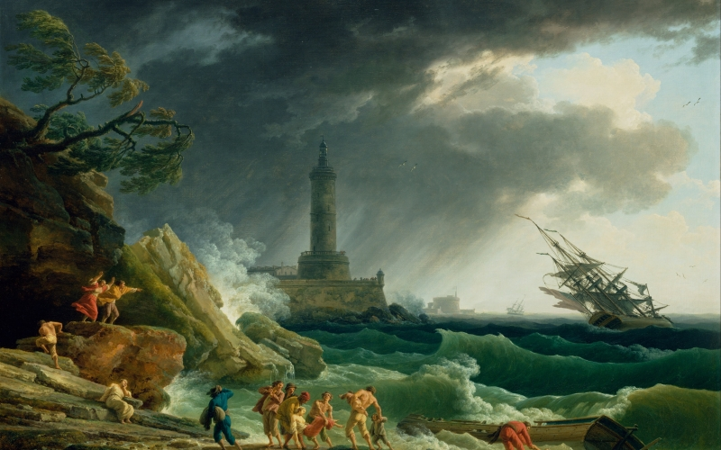 claude vernet, painting, oil on canvas, artistic, nature, outside, sky, clouds, landscape, storm, sea, ocean, water, people, beach, rocks