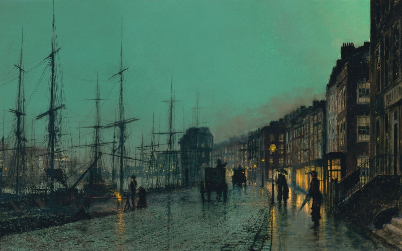 john atkinson grimshaw, painting, shipping on the clyde