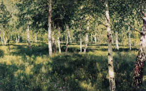 isaac levitan, birch forest, painting
