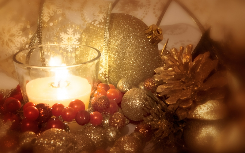background, christmas, holiday, candles, ornaments