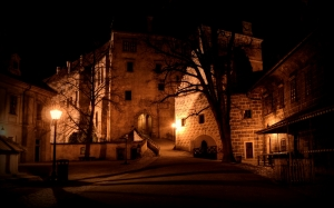 castle courtyard, night lights, history, architecture, medieval