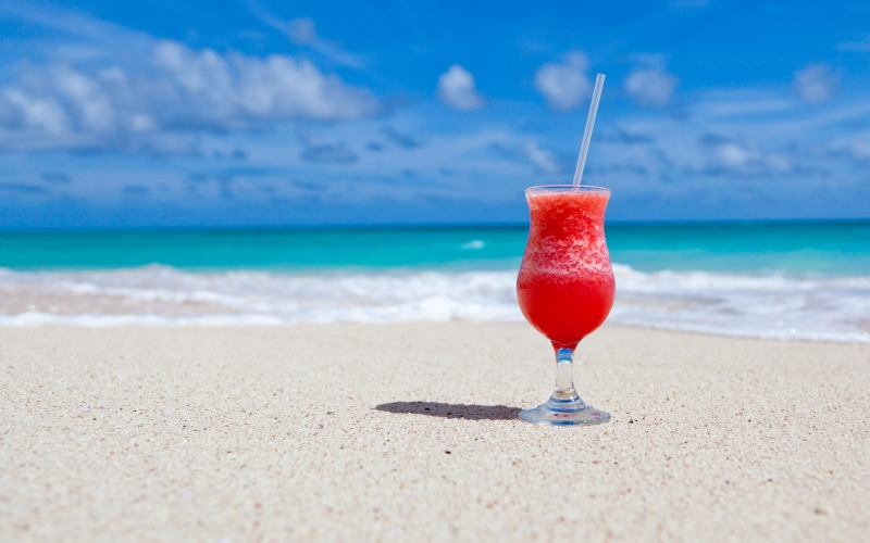 beach, beverage, caribbean, cocktail, drink, exotic, glass, ocean, paradise, sand, sea, sky, summer, travel, tropical, vacation, water
