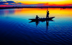 dawn, vietnam, hue province, sunrise, boat, fisherman