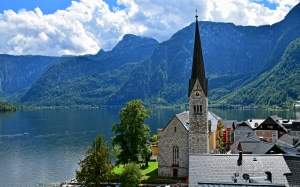 austria, hallstatt, mountains, town