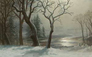 albert bierstadt, winter in yosemite, artwork, art, painting