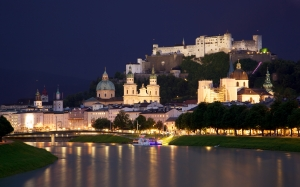 city, old town, salzburg, salzach, river, austria, night