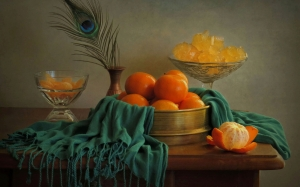 tangerines, still life, food, fruit