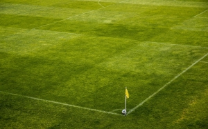 ball, stadion, horn, corner, korner, flag, football, pitch, grass, game, sport