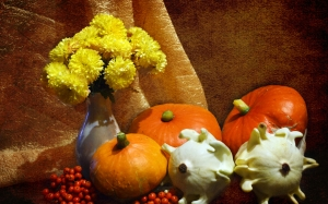 vase, still life, vegetables, mountain ash, pumpkin, chrysanthemum, flowers