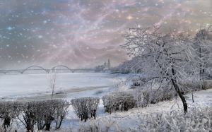 city, trees, winter, frost, landscape, nature, river, snow