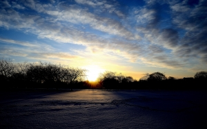 sunrise, snow, winter, seasons, trees, clouds, nature, landscape, blue sky
