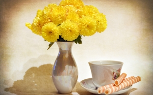 bouquet, vase, still life, chrysanthemum, flowers, cup
