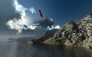 airship, computer graphic, 3d, digital artwork, dramatic sky, clouds, 3D