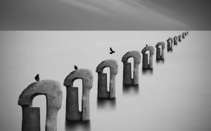 sea of fog, fog, ocean, sea, pier, abstract, birds, fantasy, water, black and white