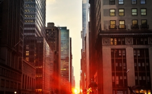 city, manhattan, sunset, skyscrapers, traffic, twilight, New York, USA, america, au