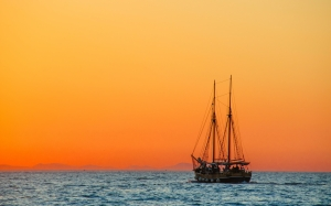 sea, sailboat, boat, mediterranean, sail, seascape, ship, evening sky, sunset, evening, ocean