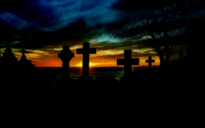 sunrise, cemetery, cross, grave, gravestones, atmosphere, dark, darkness