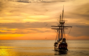 sunset, sailboat, sea, ship, ocean, old ship