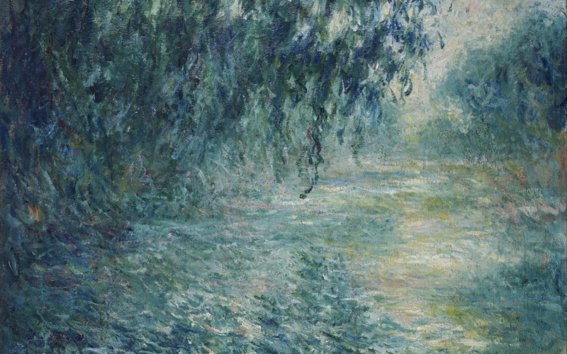 Oscar-Claude Monet, Morning on the Seine, painting, impressionism