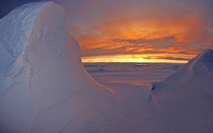Arctic Ocean, sea, sunset, sky, clouds, winter, snow, ice, landscape, nature,