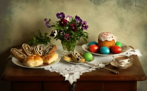 cakes, still life, card, easter, easter still life, celebration, rolls, photo still life, flowers