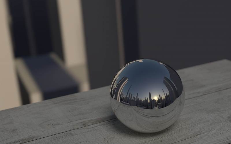 3d, ball, reflection, mirror, shiny, metal, city, computer graphics