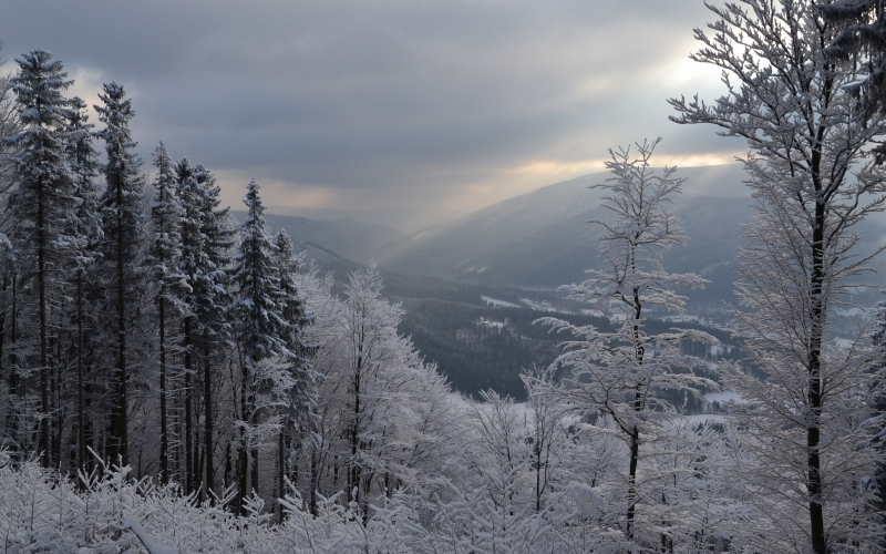 winter, landscape, snow, nature, mountains