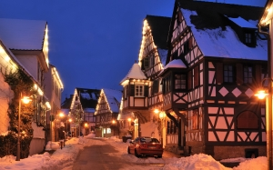 new year, christmas, illumination, town, village, evening, ornaments, snow, street