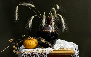 spikelets, composition, decorative pumpkin, hops, still life