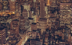 new york, city, buildings, architecture, night, dark, lights, aerial, rooftops, towers, high rises, urban