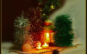 composition, Christmas, new year, greetings, holiday, candles, lights, balls, cones, Christmas trees