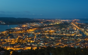 cities, city, Mount Saint-Clair, France, evening, lights