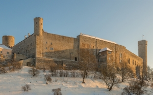 Toompea Castle, Tallinn, Estonia, history, architecture, winter, snow