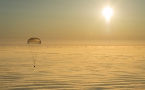 sunrise, Soyuz, spacecraft, clouds, parachute, atmosphere, space, sky