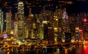 skyscrapers, Victoria Harbour, Hong Kong, city, night, lights