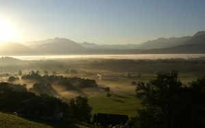 morning, nature, valley, vilage, fog, summer, mountains