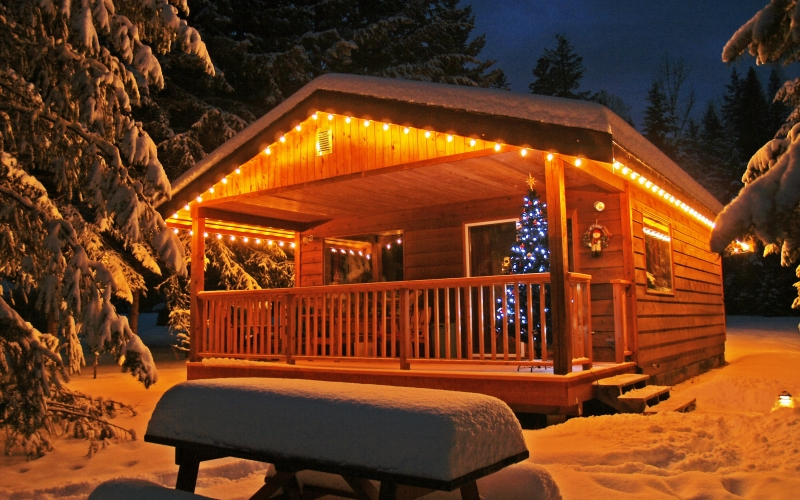 enlighted, illuminated, cabin, building, winter, snow, cold, romantic, night scene, christmas, season, trees, lights, holiday, canim lake, british columbia, canada