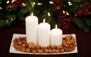 advent, almond, candle, christmas, decoration, festive, flame, glow, hazelnut, light, nut, season, seasonal, shine, spruce, tradition, walnut, xmas, garland