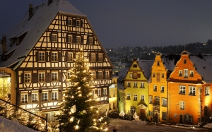 Schwabisch Hall, Marktplatz, winter, Baden-Wurttemberg, Germany, holidays, christmas, new year, night