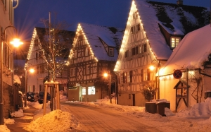 Schockingen, Baden-Wurttemberg, Germany, christmas illuminations, christmas, New Year, winter, evening