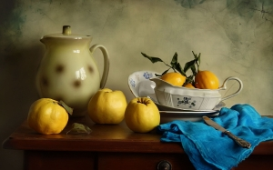 quince, still life, fall, fruits, lemons